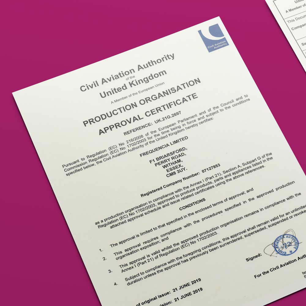 POA Production Organisation Approval Frequencia Certificate